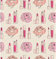 Cosmetics seamless pattern hand drawn Lipstick and vector image