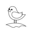 cute bird standing in the field cartoon vector image