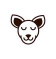 cute face kangaroo animal cartoon icon thick line vector image vector image