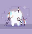 doctors treat a sick tooth vector image vector image