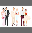 Elegant wedding couples bride and groom set vector image vector image