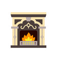 fireplace fire christmas single color icon vector image
