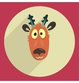 Flat design cartoon head of a deer Icon Greeting vector image vector image
