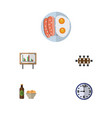 flat icon life set of boardroom fried egg watch vector image vector image