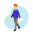 flat of walking boy with vector image