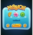 Game window for mission computer app vector image vector image