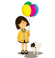 Girl and dog vector image vector image