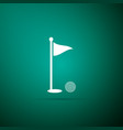 golf ball and hole with flag icon isolated vector image
