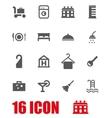 grey hotel icon set vector image vector image