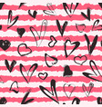 grunge hearts and stripes seamless pattern vector image