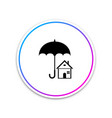 house with umbrella icon on white background vector image vector image