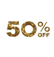 luxury golden glitter fifty percent discount word vector image vector image
