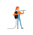 male miner worker in uniform standing with pickaxe vector image vector image