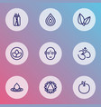 meditation icons line style set with water drop vector image