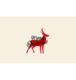 Merry Christmas Card with Deer Drawing vector image vector image