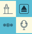 multimedia icons set collection of audio buttons vector image vector image