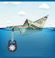 paper boat made from dollar currency vector image
