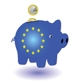 piggy bank blue and one euro vector image