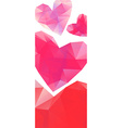 Polygonal red hearts on white background banner vector image vector image