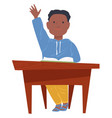 schoolboy raising hand at lesson boy sitting by vector image
