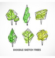 set green doodle sketch trees on white vector image vector image