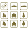 set of forest and mountains icons vector image