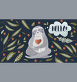 sloth with hearts and floral elements vector image