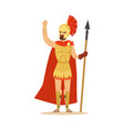 spartan warrior character in armor and red cape vector image vector image