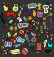sports hand draw icon and elements fitness vector image
