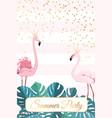 summer party template flamingo birds couple crown vector image