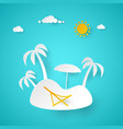summer vacation tropical island with palm tree vector image vector image