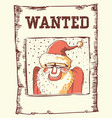 wanted poater santa claus vector image