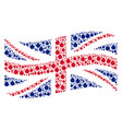 waving british flag collage of bomb items vector image vector image