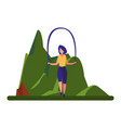 woman jumping rope near tree vector image