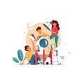 young happy two men and girl building mini rocket vector image vector image