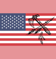 american indian tomahawks on usa flag background vector image
