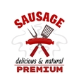Delicious grilled sausage food label vector image