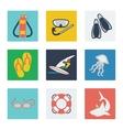 Summer vacation flat icons set vector image