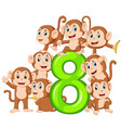 8 jelly number with so many monkey on it vector image vector image