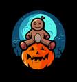 a cute halloween voodoo doll sitting on pumpkin vector image
