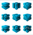 abstract isometric cubes geometric isolated set vector image vector image