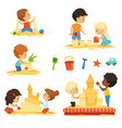 active kids playing in the sandbox happy vector image vector image