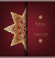 arabesque thai pattern gold background card vector image
