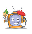 artist tv character cartoon object vector image vector image