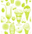 background with ice cream and fruits vector image vector image