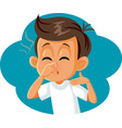 boy pinching his nose covering bad smell vector image