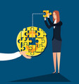 business woman with puzzle pieces in shape circle vector image vector image