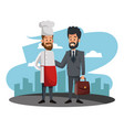 businessman with chef cartoons vector image