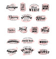 butchery meat pork and beef sausages lettering vector image vector image