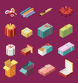 cardboard gift boxes isometric set vector image